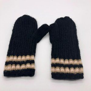 A New Day NWOT Black Brown Stripe Mittens Gloves
